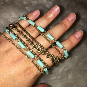 Lucky brand gold and turquoise bracelet
